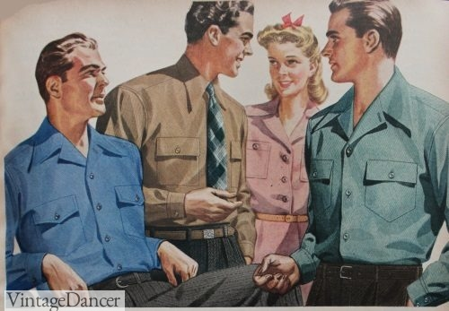 1942 Men's casual shirts with the two collar types