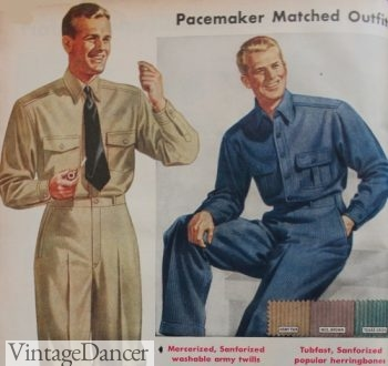 Men's 1942 work clothes, matching shirt and pants