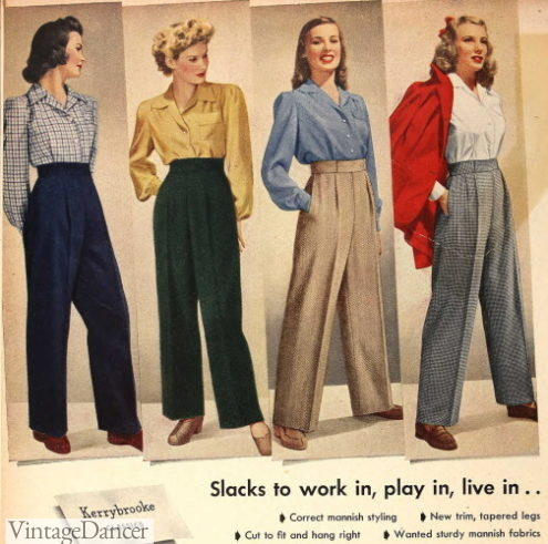 1940s womens outfits with pants