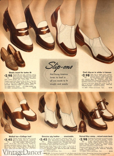 1942 loafers and slip-on two-tone shoes casual women's 1940s shoes WW2 Rosie workers