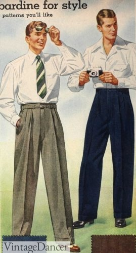 1942 dress and casual pants menswear slacks trousers outfits 40s