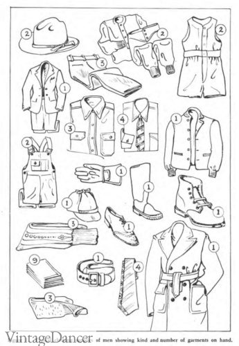 1942 men's clothing wardrobe collection planning