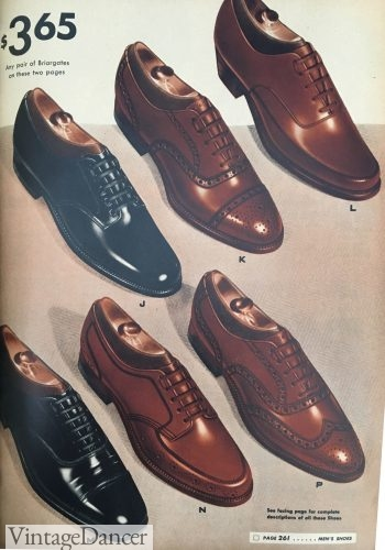 1942 mens shoes: oxfords with some detail