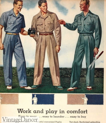 1942 slacksuits with matching shirts mens casual pants work leisure