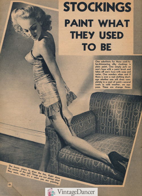 1943 drawing on stockings seams