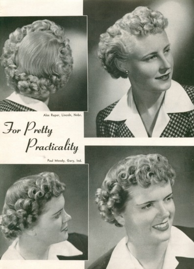 1943- short hair tightly curled and pushed from the back to create a frame around the face