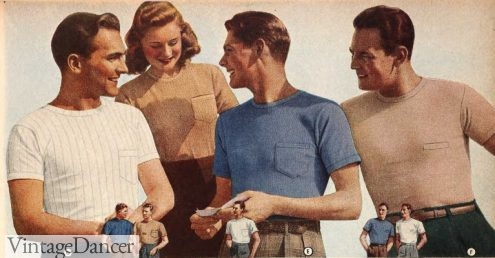 Vintage mens T-shirts 1940s casual gym workout sportswear