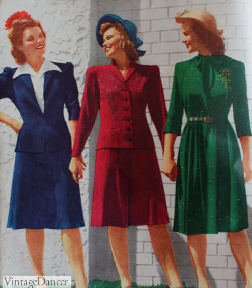 1943 winter dresses and suit