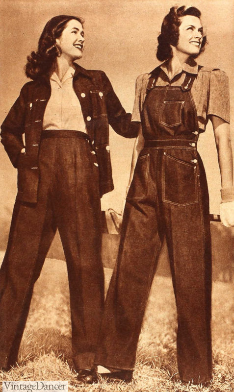 1943 womens denim jeans and jacket or overalls for work/casual days. Rosie the Riveter outfits at VintageDancer