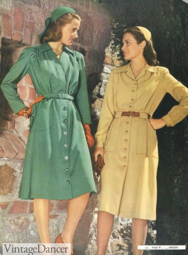 1944 long sleeve button down dresses