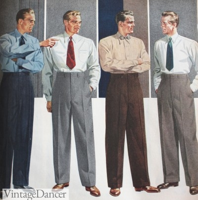 1940s mens fashion, suits, shirts, ties