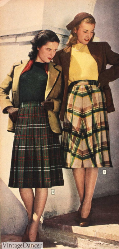 1940s fall outfit with plaid skirts with knit tops and blazers at VintageDancer