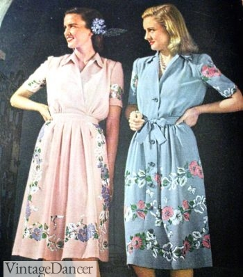 1940s spring dressses with floral border prints
