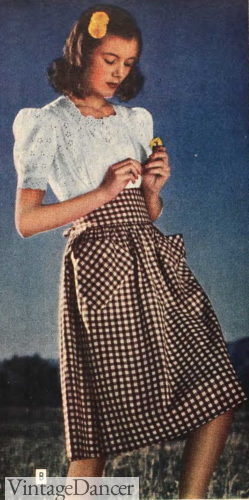 1944 gingham check skirt and peasant blouse outfit casual summer