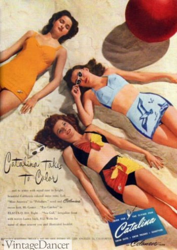 1945 Catalina swimsuits two peice bikini in color ad at VintageDancer