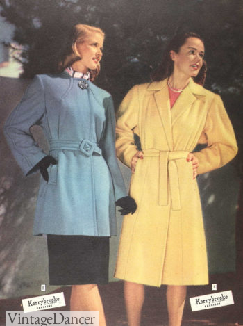 1945 yellow wrap trench coat and blue belted short coat