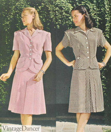 1945 two peice suit style day dresses