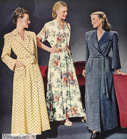 1946 polka dot, floral and chenille wrap robes