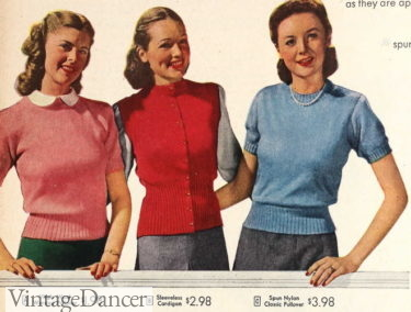 1946 knit sweater tops and vest (center)