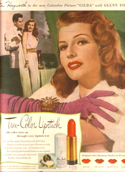 1946 evening makeup with a green-ish eyeshadow makeup