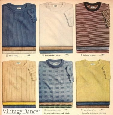 1940s mens T shirts- ribbed, plaid, striped, weaved