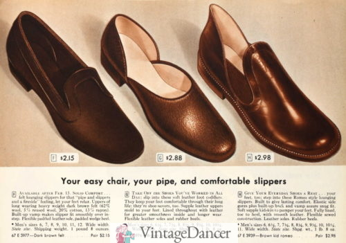 1946 vintage mens house slippers, loafer, opera and romeo slippers at VintageDancer