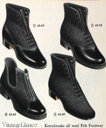 1946 women's felt boots with rubber soles- both lace up a elastic side panels gusset boots