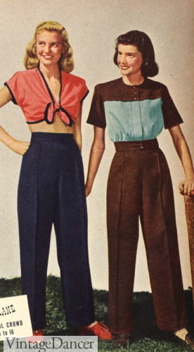 1946 slacks with crop top or matching blouse