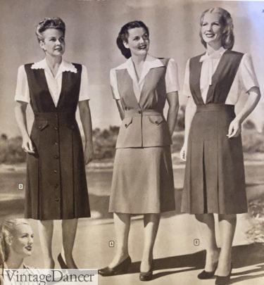 1947 jumper dresses over white blouses
