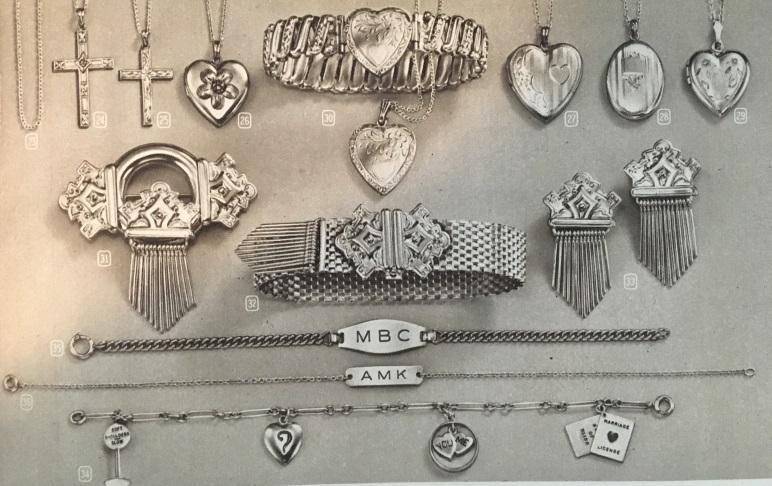 1947 ID bracelets, charm bracelet, stretch band bracelets in gold