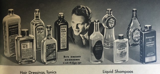 1940s mens hair tonics and shampoo, good grooming products