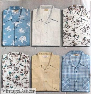 1940s men's hawaiian shirts, tropical prints and colors