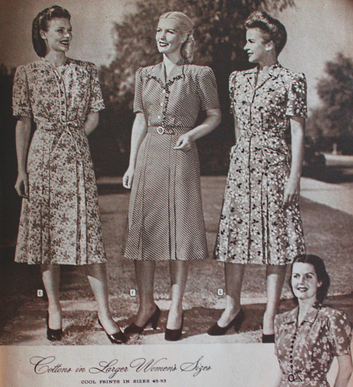 1947 shirtwaist house dresses for plus size ladies
