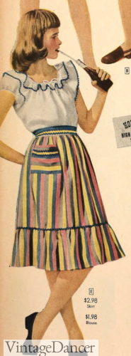 1947 striped tiered skirts with peasant blouse