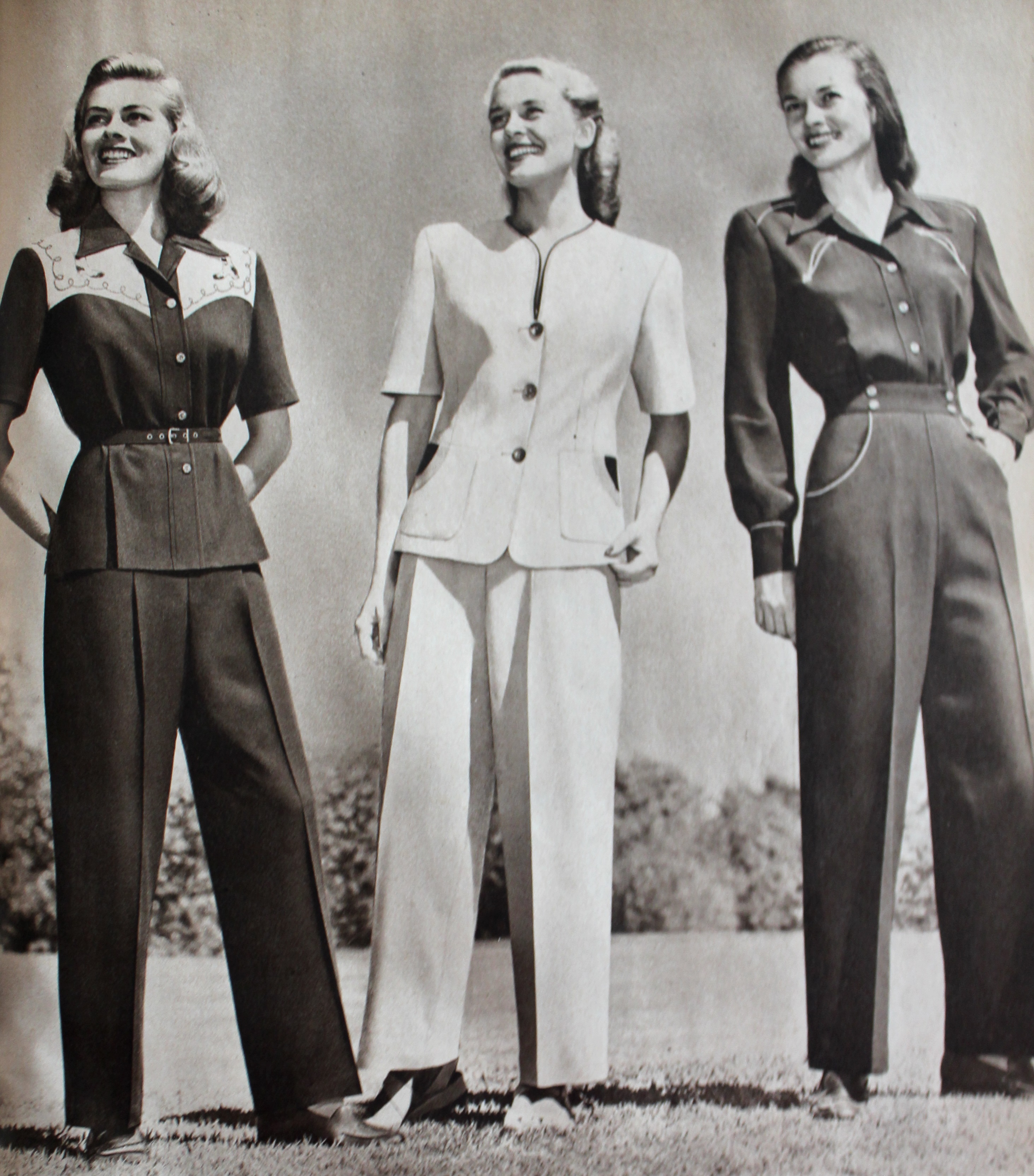 1947 work pant suits 1940s ladies workwear clothes rosie's to nurses,Womens Clothing 1940s