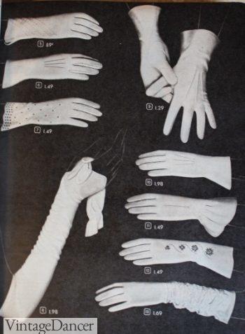 1940s white evening gloves