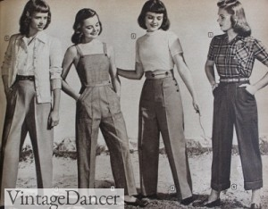 1940s teens pants, overalls, denim jeans