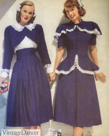 1948 bolero jacket and skirt or peplum top two peice dress sets
