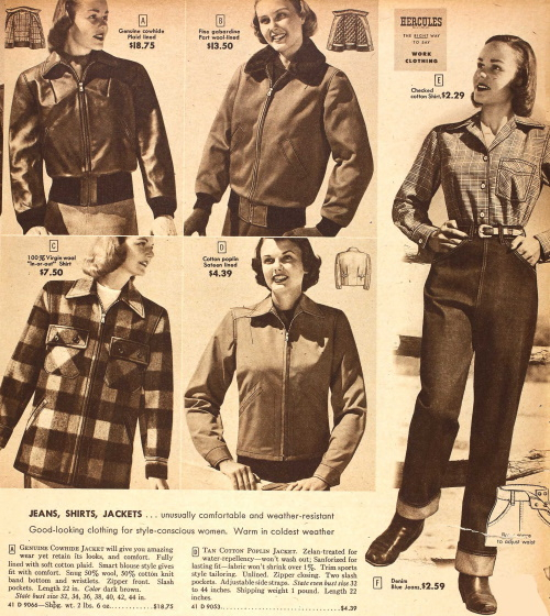 1948 denim jeans, flannel shirt and bomber jackets fall winter casual 1940s jackets at VintageDancer