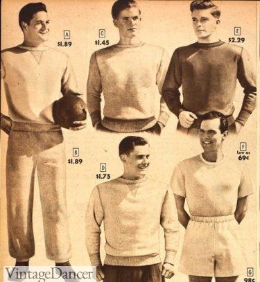 Vintage mens gym clothes, vintage mens workout clothes, vintage mens sweatshirts1948 men's gym clothes