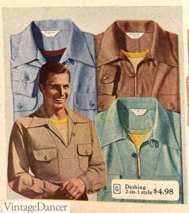 1940s mens casual shirts 1948 yoke front and loop button collar sport shirts