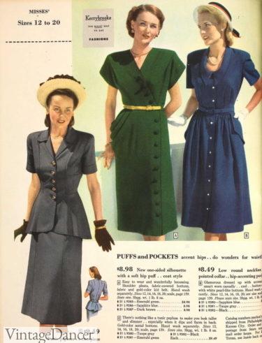 1948 peplum top dress, and side draping