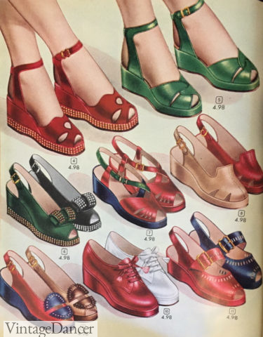 1948 wedges, casual 1940s shoes women vintage style