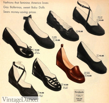 1949 ballet flats with baby doll toes