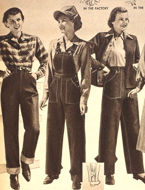 1949 denim pants and overalls for fall women's workwear at VintageDancer