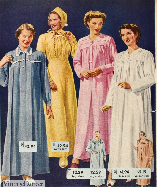 1949 winter nightgowns