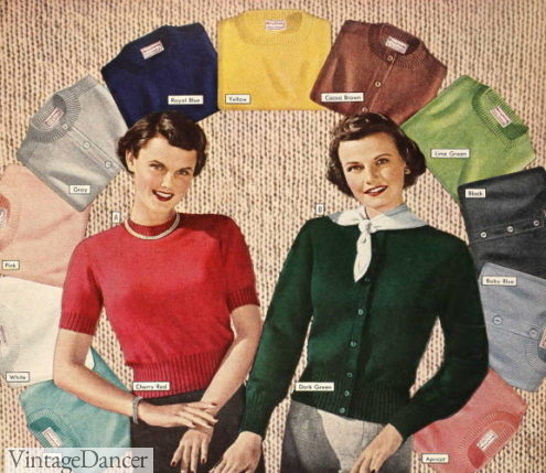 1949 classic cardigan sweaters jumpers and knit tops knitwear 1940s 1950s