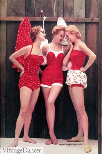 1950s red polka dot swimsuits