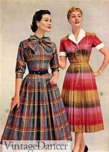 Plaid 1950s dresses for summer or fall