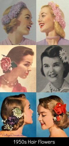1950s Hair Flower Clips and Wreaths, 50s hairstyle accessories